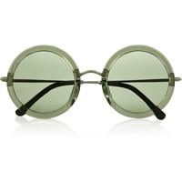 The Row - Leather-trimmed round-frame acetate and metal sunglasses