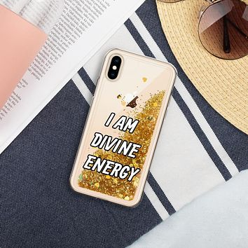 """I AM DIVINE ENERGY"" Positive Motivational & Inspiring Quote Liquid Glitter iPhone Mobile Case"