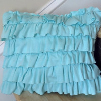 aqua ruffle  pillow