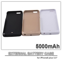 """5000mAh cell phone case power case for iphone 6 plus 5.5"""" external battery power bank cell phone charger black white gold colors"""