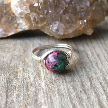 Ring, wire ring, wire wrapped ring, Zoisite ring, Ruby Zoisite jewelry, gemstone ring, healing stones, ruby, custom ring, chakra ring, reiki