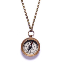 Small Antiqued Compass Necklace - Silver dial back