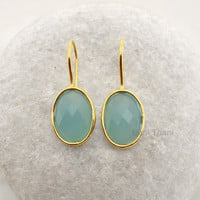 Aqua Chalcedony Beautiful Oval Faceted Micron Gold Plated 925 Sterling Silver Earring Jewelry, 13x18mm - #1581