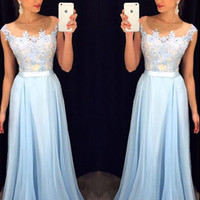 Custom Made A Line Round Neck Light Blue Lace Prom Dress, Long Lace Formal Dress