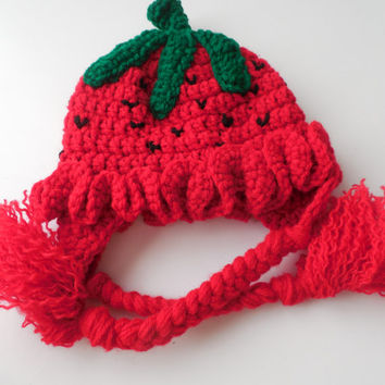 Strawberry Hat - Ear Flap Hat - Crochet Red Strawberry Hat - Adult Fun Hat - Handmade  Crochet - Made to Order