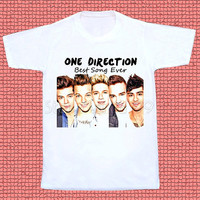 One Direction TShirt Best Song Ever TShirt 1D TShirt Pop Rock TShirt Short Sleeves Women TShirt Unisex TShirt White Tee Shirt Size S,M,L,XL