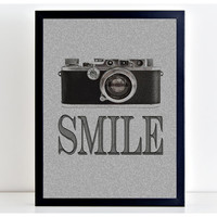 Smile Vintage Camera Print Motivational Poster Wall Art Print Kitchen Quote Motivation Home Decor PP105