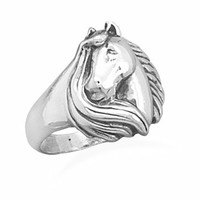 Sterling Silver Horse With Mane Ring
