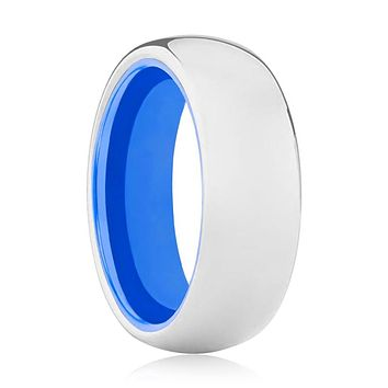 OCEAN Tungsten Silver Shiny and Blue Inside Aluminum Ring
