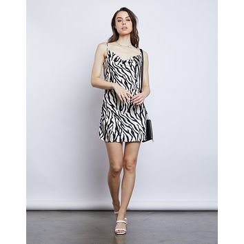 Shanel Zebra Slip Dress