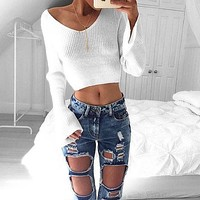 Long Sleeve Women's Fashion Autumn Stylish Hot Sale V-neck Sexy Tops [22425796634]