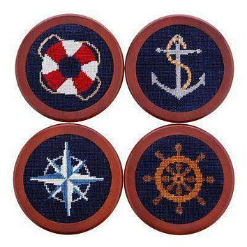 Nautical Life Needlepoint Coasters by Smathers & Branson