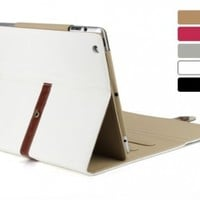 White Pu Leather Case Cover with Leather Belt+buckle for Apple the New Ipad 2&3&4