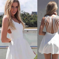Pleated A Line Strappy Back Mini Dress - White