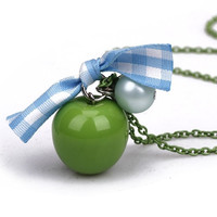 Apple  necklace, pearl necklace, green apple necklace,  personalized necklace, Christmas gift, birthday gift.