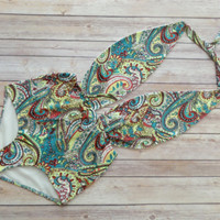 Beautiful Maillot Swimsuit - Vintage Retro Style High Waist Swimming Costume Swimwear Bright Bohemian Bold Paisley One Piece Bathing Suit