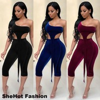 Women Sexy Two Piece One Shoulder Crop Top Pant Set