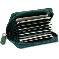 Accordian Leather Credit Card Holder - Forest Green - ILI Inc.