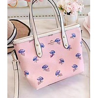 COACH New fashion floral print leather shoulder bag women handbag Pink