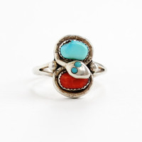 Vintage Sterling Silver Turquoise & Coral Snake Ring- Effie Calavaza Zuni Native American Tribal Serpent Jewelry, Circa 1970