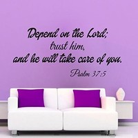 Wall Decals Vinyl Decal Sticker Children Kids Nursery Baby Room Interior Design Home Decor God Verses Quotes Psalm 37:5 Depend on the Lord Kg690