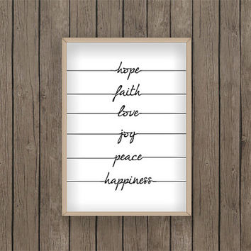 Hope Faith Love Joy Peace Happiness Quote From Meeperoons My