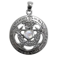 Sterling Silver Cut Moon Goddess Wiccan Pentacle Pendant with Natural Rainbow Moonstone Jewelry