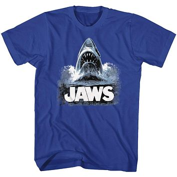Jaws Tall T-Shirt Poster Shark Out Of Water Painting Royal Tee