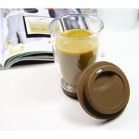 Handmade Gift Double Wall Glass Tea / Coffee Tumbler Cup With Cap 400ml 13.5oz - Unihom