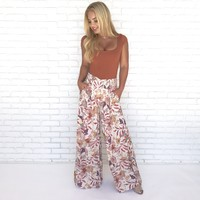 Floral Optimistic Wide Leg Trouser Pants