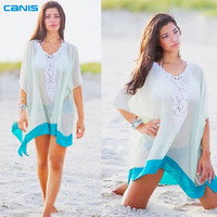 Lace Beach Cover up Cotton V-neck Bikini Cover Ups Women Swimsuit Covers up Beachwear 2016 Beach Tunic Bathing Suit Coverups