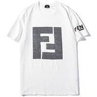Fendi 2019 tide brand new double F letter sequin short-sleeved T-shirt white