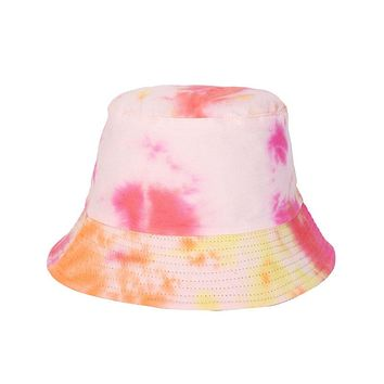 Original Bucket Hat Tie Dye Reversible Basin Cap Women Panama Sun Hats