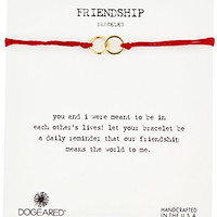 """Dogeared """"Modern Wrist"""" Friendship Double-Linked Rings Red with Adjustable Bead Closure Gold Bracelet"""