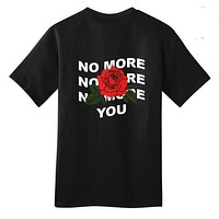 Summer Style Women Tumblr Grunge Black Yellow Tee No More You Rose Back Printed T-Shirt Hipsters Street Style Oversize Tee Shirt