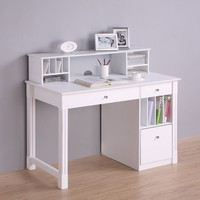 Deluxe White Wood Computer Desk with Hutch
