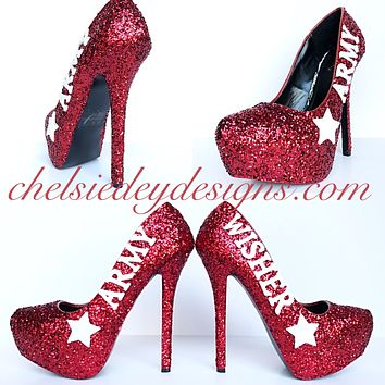 Army Glitter High Heels, Military Ball Red White Sparkly Pumps