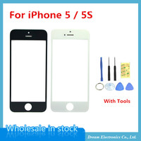 High Quality NEW Touch Screen Glass Replacement Front Outer Glass Lens For iPhone 5 5g 5S 5C With Repair Tools White / Black