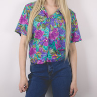 Vintage 90s Tropical Hawaiian Button Up Blouse
