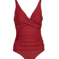 Ruby Tuesday Red Rouched One-Piece Swimsuit