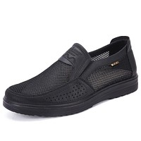 New Men'S Casual Shoes Men Summer Style Mesh Flats For Men Loafer Creepers Casual High-End Shoes Very Comfortable Dad Shoes38-48