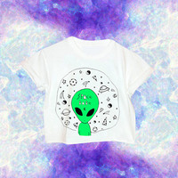 90s Custom Dyed Alien Shirt // Alien // 90s Grunge // Space Babe // Space Grunge // Pizza