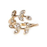 River Island Womens Gold tone rhinestone leaf finger top ring