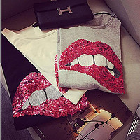 2017 new brand spring summer fashion new loose sexy mouth tee women top embroidered red lips sequins T-shirt Girl tops code