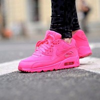 Sale Nike Air Max WMNS 90 Gs Hpyer Pink Running Shoes Sport Shoes 345017-601