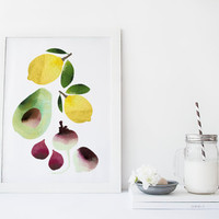 Fruit and vegetable wall art, kitchen art print , food art, poster, watercolor art print, home wall decor, food poster, minimal, simple
