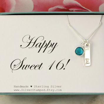 Happy Sweet 16 gift Sterling Silver Birthstone bar necklace, Stamped Initial necklace, 16th Birthday Gift for Goddaughter, daughter, niece