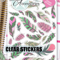 Clear Feather Stickers Boho Stickers Feather Boho Stickers Planner Stickers Erin Condren Feather Decal Life Planner Decorative Sticker 442