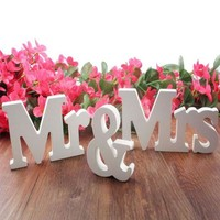 DCCKJY1 Wedding decorations 3 pcs/set Mr & Mrs romantic mariage decor Birthday Party Decorations Pure White letters wedding sign