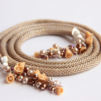 Bead Crochet necklace and earrings -Cappuccino-beige with gold shimmer..., long jewelry, Jewelry Beadwork, gift, gift women, Beadwork